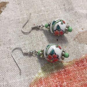 Floral ceramic pierced dangle earrings